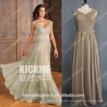 RP0132 Brown V frente e costas de renda chiffon com contas grossas mulheres vestidos 2014 verão vestido mulher sexy ver através do vestido noturno