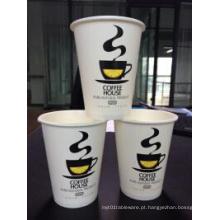 Copo de café quente descartável do papel do projeto feito sob encomenda do logotipo