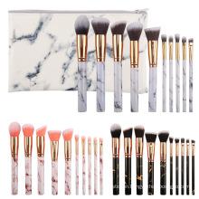 New 10pcs Marble Makeup Brush Color Plastic Particles Transparent Handle Makeup Brush Set