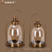 lanterna de vela lâmpada de vela de imitação antiga lanterna de vidro e ferro vela