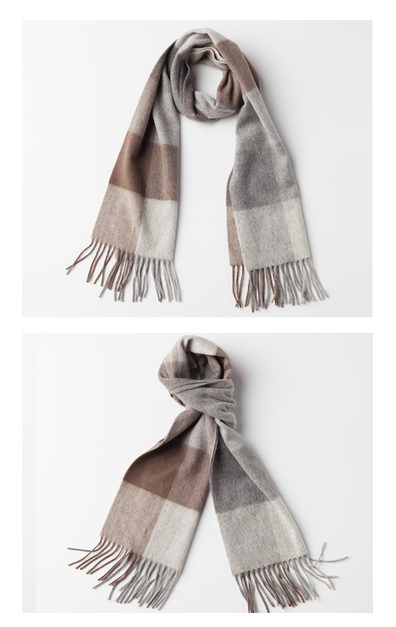 Unisex Plaids Wool Cashmere Scarf -8