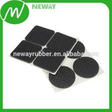 Mejor vende almohadilla de pie de goma cuadrado OEM con cinta adhesiva de la espalda