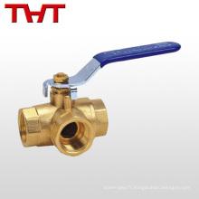 china fournisseur de haute qualité en laiton 3 voies robinet à boisseau sphérique