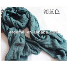 Crumple solid color vintage scarf shawl