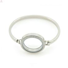 """Jóia de prata lisa 7 """"-8"""" polegadas pulseira de aço inoxidável medalhão & bangle, clássico cuff bangle"""