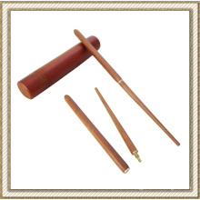 Folding Wooden Chopsticks with Round Wooden Carry Case