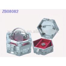 Nova chegada de alumínio presente caixa de joias com tampa de vidro