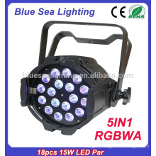 2015 hotsale 18pcs x 15w 5in1 rgbwa led par light