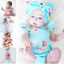 Newborn Toddler Baby Girls Clothes Flower Romper Sleeveless Jumpsuit Outfits Headband Clothes