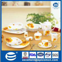 high grade super white yellow flower painting 45pcs square daily ceramic of dinner plate