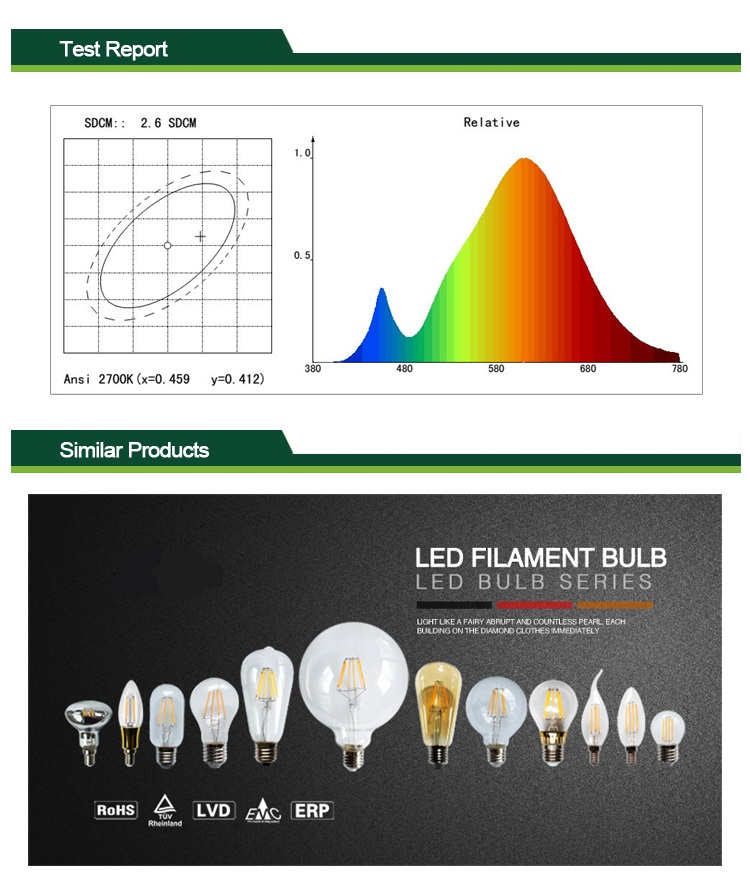 led filament bulb light 4w