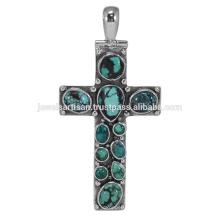 Bijoux pendentifs en argent sterling 925 en pierres précieuses turquoise tibétain