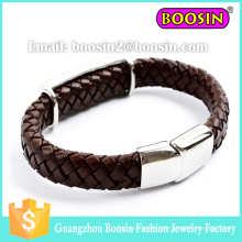 Fashion Men′s Paracord Energy Braided Leather Bracelet with Magnetic Closer