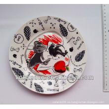 2014 placa de cerámica de la mejor calidad, ilustraciones de lujo completas cerámica cena placas laterales