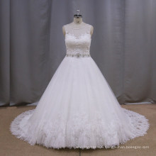 Attractive style a line fiber optic wedding bridal dress in cream color