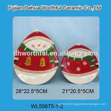 Popular designed ceramic tray with snowman pattern for christmas