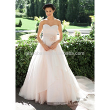 NA1023 Chic Simple A-line Sweetheart Chapel Train Pink Organza Designer Wedding Dress