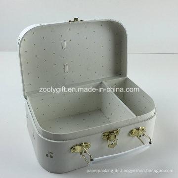 Goldene Kirsche Gedruckte Kosmetikverpackung Koffer Geschenkpapierboxen mit Trennwänden