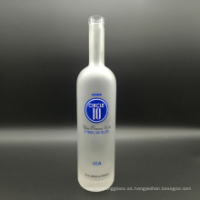 Super Flint Clear Glass Cork Top 750ml Frascos de Vodka Frosted para Licor, Vino