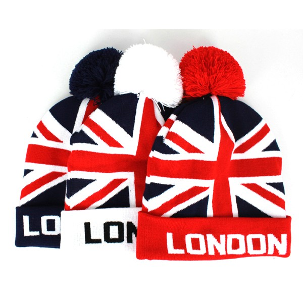 Union Jack London Pom Pom Beanie Hats