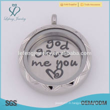 2015 Fancy 22mm Silver God Gave Me You Love Plates flottantes Pour un placette de verre vivant de 30mm