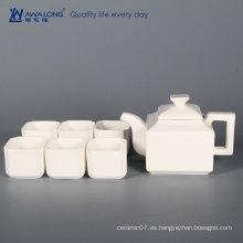 China Awalong por encargo clásico cuadrado blanco elegante tetera China tetera taza platillo platillo