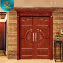 Porta de madeira dupla estilo europeu com escultura (DS-9010)