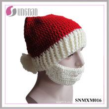 Sombrero de ganchillo hecho a mano creativo de Navidad 2015 Santa Claus Beard Cap (SNMXM016)