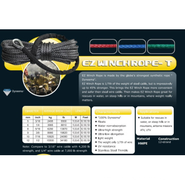 "7/16""X 150′ Ez Winch Rope-T for Water Rescue/ATV&UTV/Climb/Airborne"