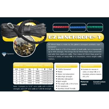 """7/16 """"X 150 ′ Ez Guincho Rope-T para Resgate de Água / ATV & UTV / Subida / Aerotransportada"""
