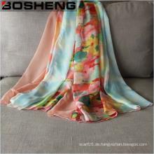 Dame Modischer Chiffon gedruckter Seide langer weicher Schal