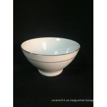 Tazón con base de cerámica blanca pura de alta calidad que espesa