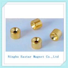 Золото обшивки N35 неодимового постоянного магнита с Чашечная форма