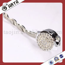 Silver Magnetic Curtain Clips With Rhinestone Decoration Metal Tassel Holder
