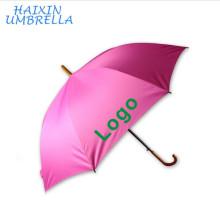 """Promotion de qualité de fibre de verre rose 23 """"et 27"""" 8 panneaux auto marche bâton Personnaliser Logo Imprimer poignée en bois parapluie en gros"""