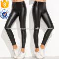 La cintura elástica negra PU delgada de las polainas OEM / ODM fabrica la ropa al por mayor de las mujeres de la manera (TA7039L)