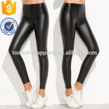 Cintura elástica preta PU Slim Leggings OEM / ODM Fabricação Atacado Moda Feminina Vestuário (TA7039L)