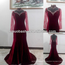 NW-466 Long Sleeves with Beaded and Diamonds Spandex Velvet Evening Dress