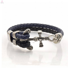 New style Jewelry snap leather steel anchor bracelet blanks leather men
