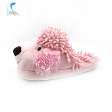 Chaussons en peluche hiver rose pour chien d'intérieur enfant
