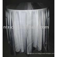 100% poliéster manteles y Organza Table Overlay, cubierta de tabla del banquete del Hotel