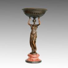 Vase Statue Lady Salver Bronze Jardiniere Sculpture, Milo TPE-589