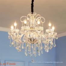 Luxo moderno Grande Grande Lobby Do Hotel Vela de Cristal Lustres LED de Vidro Pingente de Luz para o Interior