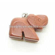De alta calidad natural de piedra roja colgante de elefante colgante de piedras preciosas semi