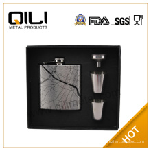 6oz stainless steel water transfer print hip flask with funnel and cups box set