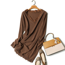 Fashion design women long sweater with v neck silk neckline patchwork loose cashmere sweater hackly lap hem sweaters