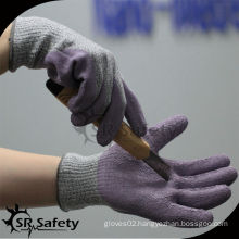 SRSAFETY purple latex coated finger cut gloves/anti-cut glove