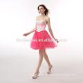 Stock-Candy color rojo vestido con cuentas fuera del hombro elegante noche para fiesta