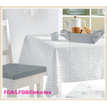 White PEVA Printed Tablecloth with Nonwoven 2 Layers