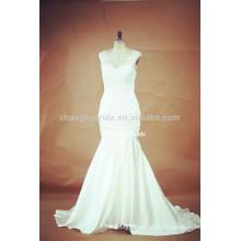 Elegante cuello en V rebordear vestidos de novia de novia vestidos de novia para la novia